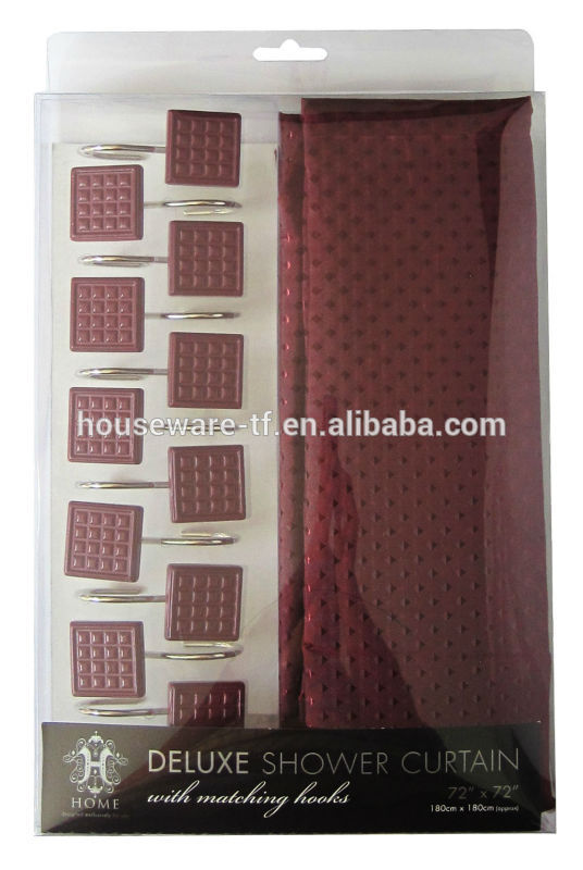 plant design polyester shower curtain with resin hooks