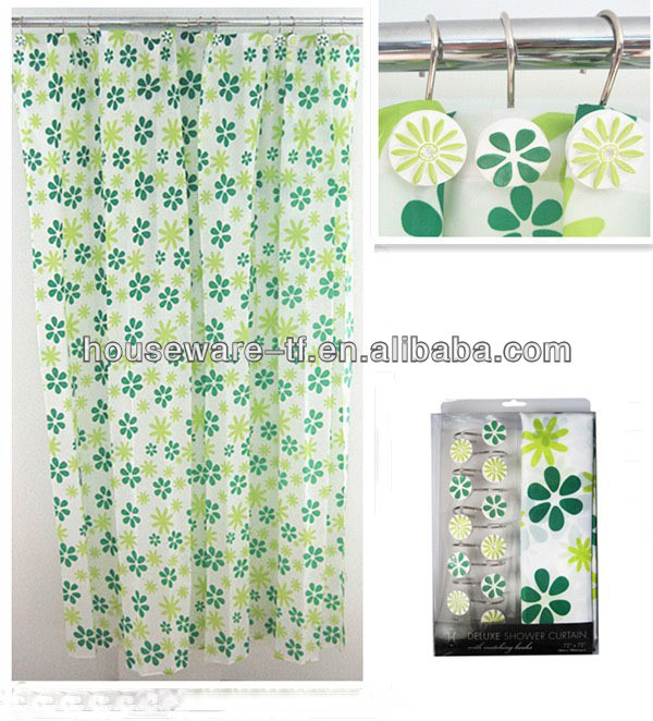 classic FLOWER design polyester shower curtain with resin hooks