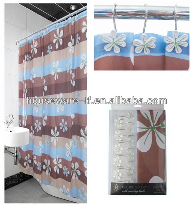flower design polyester shower curtain with resin hooks