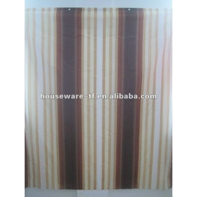 simple design polyester shower curtain with resin hooks