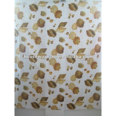 shell style polyester shower curtain with resin hooks