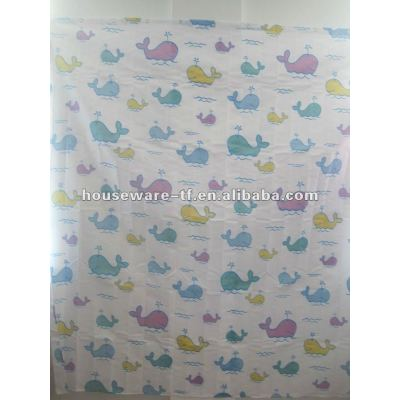 fishes design polyester shower curtain with resin hooks