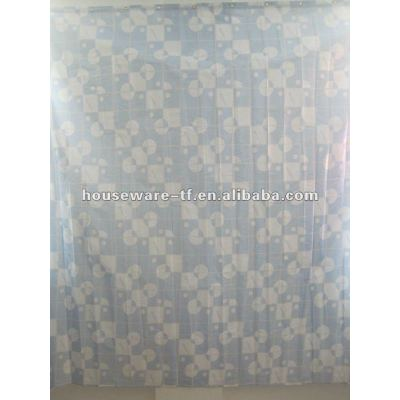 simple design polyester shower curtain and resin hooks