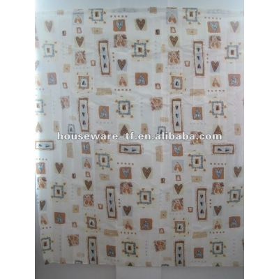cute design polyester shower curtain with resin hooks