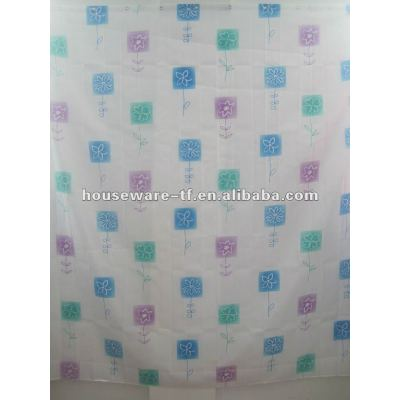 fashion design polyester shower curtain with resin hooks