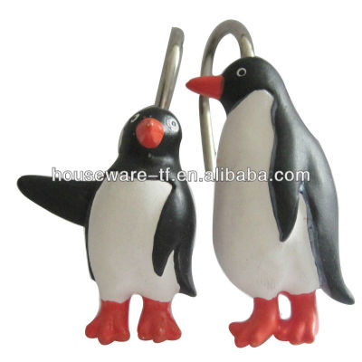 12pcs Penguin design shower curtain hooks