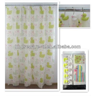 Duck patterns PEVA shower curtains