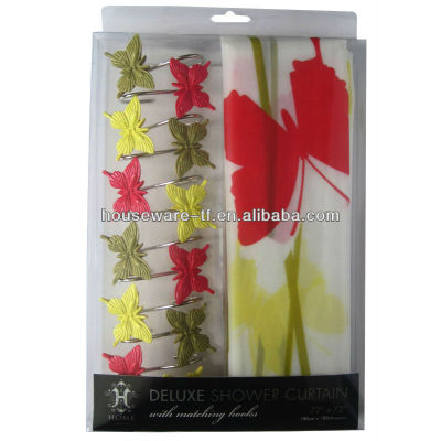butterfly hooks with peva shower curtain