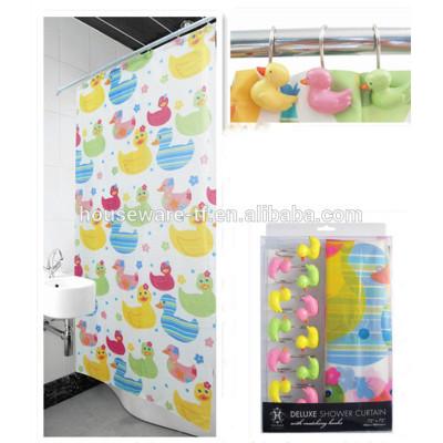 Duck design peva shower curtain with resin hooks
