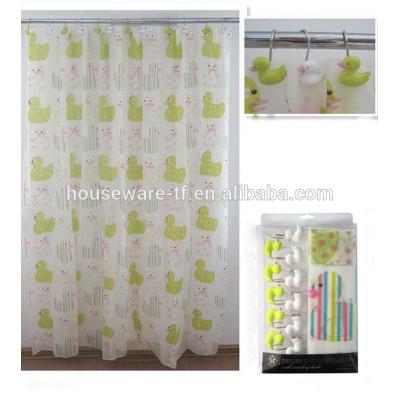 animal design peva shower curtain with polyresin curtain hooks