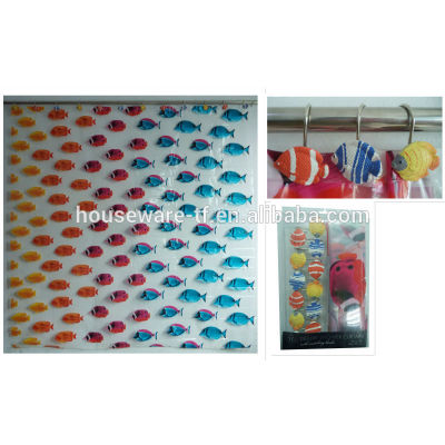 fish design peva shower curtains with resin hooks