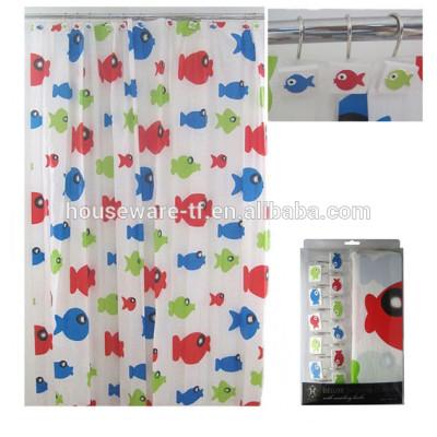 fish design peva shower curtain with curtain hooks