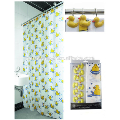 Yellow duck pattern factory professional produce 100%polyester shower curtains