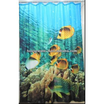 Photo printing fishes design polyester shower curtain
