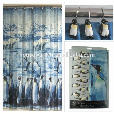Black PENGUIN shaped 100%polyester shower curtain