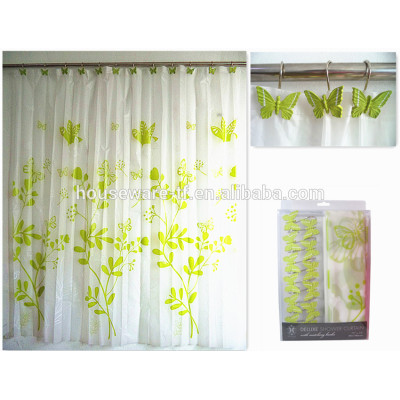 peva shower curtain with butterfly polyresin hooks