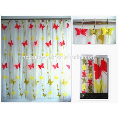 latest butterfly design waterproof peva shower curtain