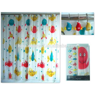 colorful fish design Mildew peva shower curtain for kids