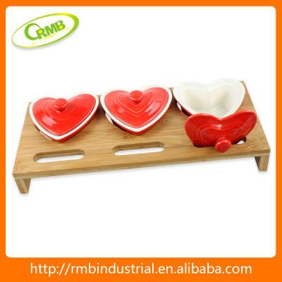 3/set love shape ceramic canister(RMB)