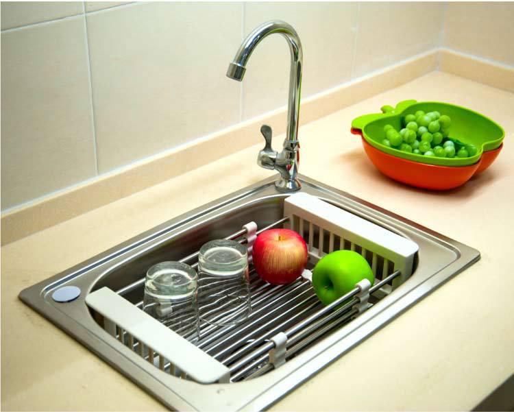 BYN kitchen sink extendable dish drainer rack dish drainer basket ...
