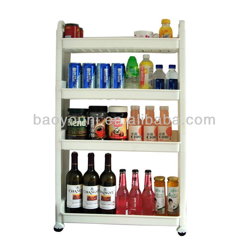 BAOYOUNI 4 Tier Movable Plastic Beer Bottle Rack Fridge Bottle Rack DQ 1309  ...