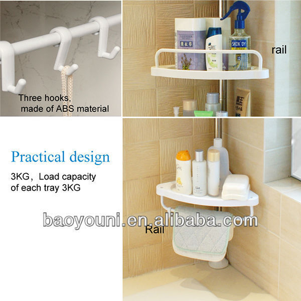 BYN DIY 4 tier telescopic stainless steel bathroom corner shelf with towel bar J006 c1