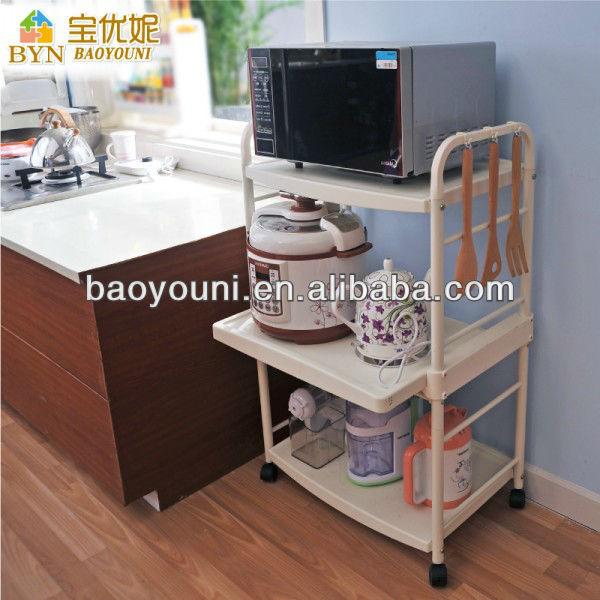 BYN 3-tier DIY Kitchen Trolley Plastic Microwave Oven Rack