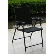 Outdoor Patio Furniture Steel Frame Rattan Folding Dining Chair with armrests