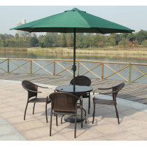Outdoor wicker round chairs and tables five-piece set