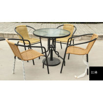 Outdoor rattan chairs and tables