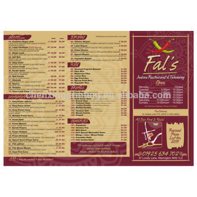 Accordion Fold US Foods Price List Printing Manufacturer Wholesale Price
