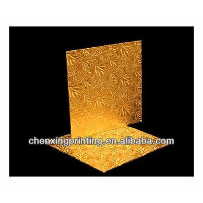 8 inch Cake Board, Square Gold Foil Single Wall Corrugated