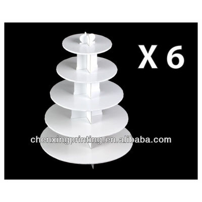 White Cupcake Stands, 5 Tier Double Wall Corrugated