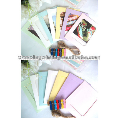 6 Inches Colorful Washing Line Hanging Gallery on Line Square Paper Photo Frame 6'' 6 inches