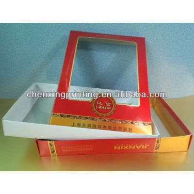 Customized Paper Shirt Packaging Box with Clear Plastic PVC Window