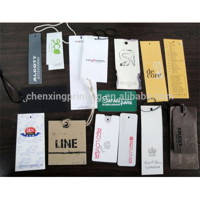cheap customized printed paper hang tag for garment