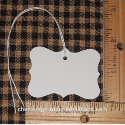WHITE BLANK LARGE FANCY DESIGN LABEL HANG TAGS