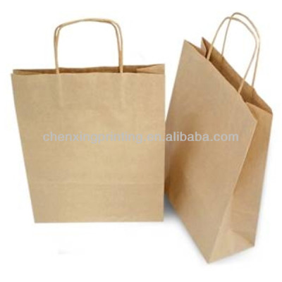 Bespoke brown kraft paper shopping bags wholesale with die-cutting handles