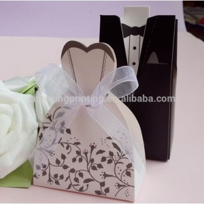 Groom Tuxedo Bridal Dress + Chiffon Ribbon Wedding Party gift box Favors Candy Boxes