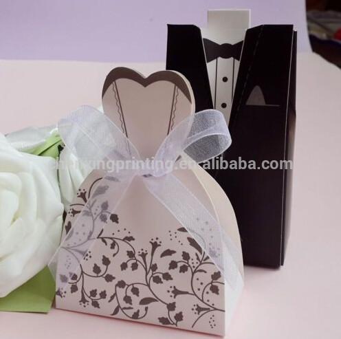 Groom Tuxedo Bridal Dress + Chiffon Ribbon Wedding Party gift box Favors Candy Boxes
