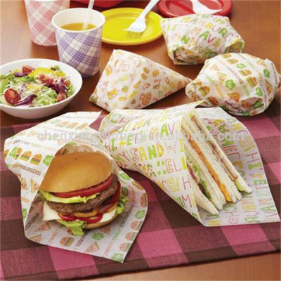 Printing Customized Greaseproof Food Wrapping Paper for Sandwich Hamburger Wholesale Price