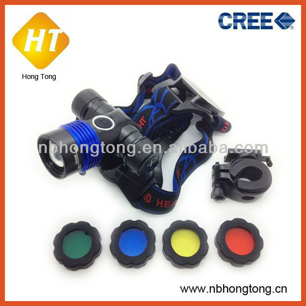 2 in 1 cree xml t6 zoom led bike light with 4 colour filter HT-HL022