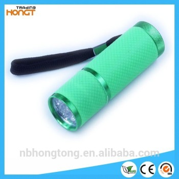 fluorescence shell aluminum 9 led flashlight (HT-LF10)