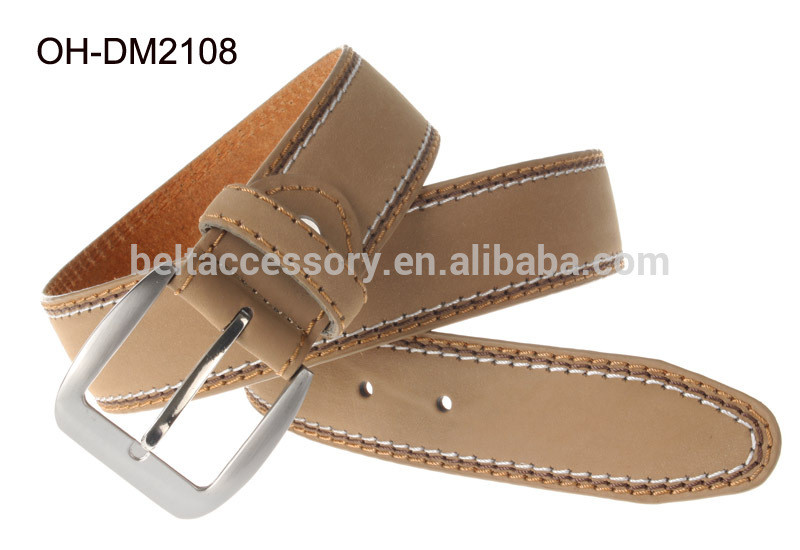 2014 Khaki Men Pu Belt 3.8cm with 3 color stitches