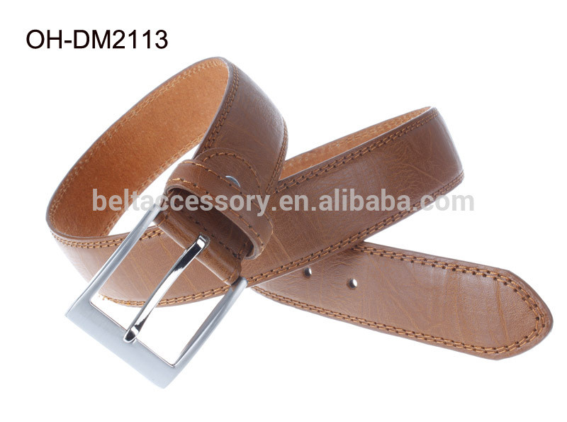 2014 new fashion Khaki Men Pu Belt 3.8cm