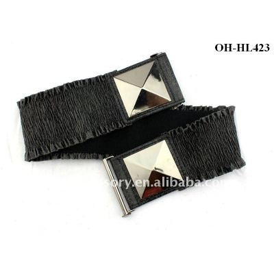 Style Women's Faux Leather Elastic Ruffle Black Belt