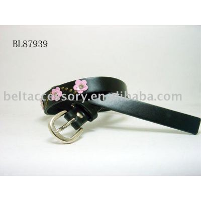 Black child belts with pink flowers