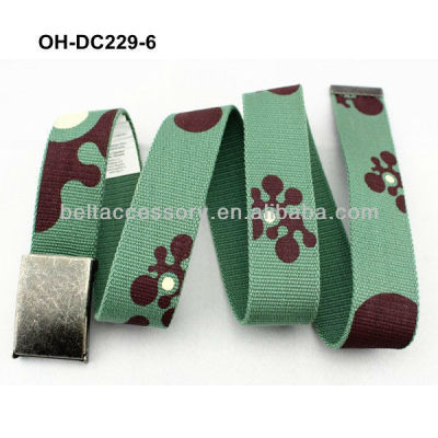 Olive green cotton canvas belt for kid