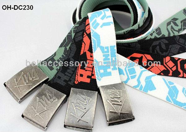 Black canvas print belts for boys