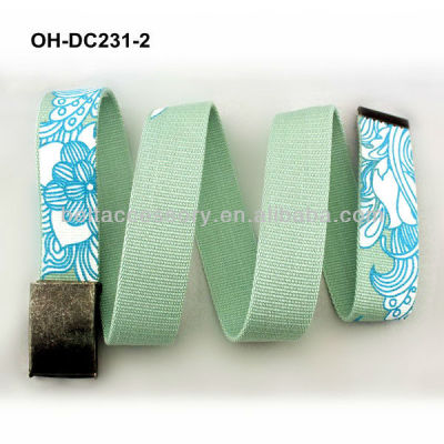 Fashion green printed womens canvas belt